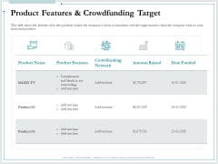 Pitch Deck For Raising Funds From Product Crowdsourcing Product Features And Crowdfunding Target Rules PDF