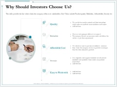 Pitch Deck For Raising Funds From Product Crowdsourcing Why Should Investors Choose Us Themes PDF
