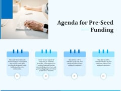 Pitch Deck For Seed Financing Agenda For Pre Seed Funding Portrait PDF