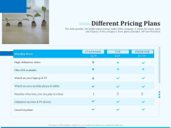 Pitch Deck For Seed Financing Different Pricing Plans Demonstration PDF