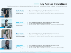 Pitch Deck For Seed Financing Key Senior Executives Background PDF