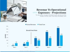 Pitch Deck For Seed Financing Revenue Vs Operational Expenses Projections Ppt Show Outline PDF