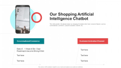 Pitch Deck For Seed Funding Our Shopping Artificial Intelligence Chatbot Infographics PDF