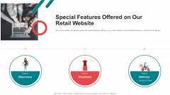 Pitch Deck For Seed Funding Special Features Offered On Our Retail Website Portrait PDF