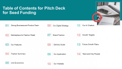 Pitch Deck For Seed Funding Table Of Contents For Pitch Deck For Seed Funding Inspiration PDF