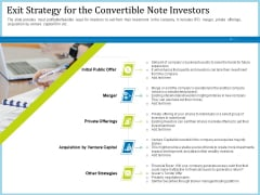 Pitch Deck For Short Term Debt Financing Exit Strategy For The Convertible Note Investors Topics PDF