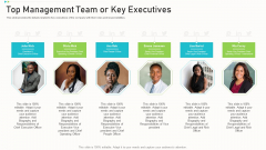Pitch Deck Ppt Raise Funding Corporate Investors Top Management Team Or Key Executives Information PDF