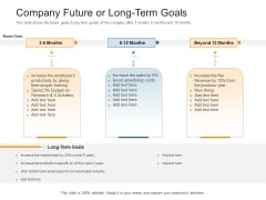Pitch Deck Raise Capital Interim Financing Investments Company Future Or Long Term Goals Icons PDF