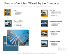Pitch Deck Raise Capital Interim Financing Investments Products Vehicles Offered By The Company Demonstration PDF