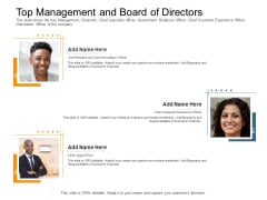 Pitch Deck Raise Capital Interim Financing Investments Top Management And Board Of Directors Officer Elements PDF