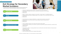 Pitch Deck To Attract Funding After IPO Market Exit Strategy For Secondary Market Investors Themes PDF
