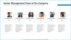 Pitch Deck To Attract Funding After IPO Market Senior Management Team Of The Company Slides PDF