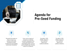 Pitch Deck To Collect Funding From Initial Financing Agenda For Pre Seed Funding Elements PDF