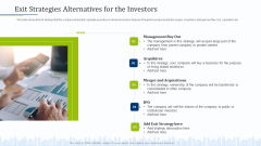 Pitch Deck To Draw External Capital From Commercial Banking Institution Exit Strategies Alternatives For The Investors Icons PDF