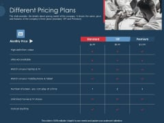 Pitch Deck To Gather Funding From Initial Capital Different Pricing Plans Pictures PDF