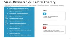 Pitch Deck To Raise Capital From Commercial Financial Institution Using Bonds Vision Mission And Values Of The Company Ideas PDF