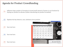 Pitch Deck To Raise Capital From Product Pooled Funding Agenda For Product Crowdfunding Demonstration PDF