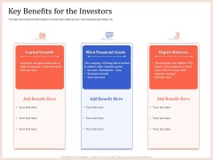 Pitch Deck To Raise Capital From Product Pooled Funding Key Benefits For The Investors Microsoft PDF