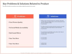 Pitch Deck To Raise Capital From Product Pooled Funding Key Problems And Solutions Related To Product Topics PDF