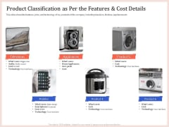 Pitch Deck To Raise Capital From Product Pooled Funding Product Classification As Per The Features And Cost Details Infographics PDF