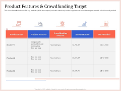 Pitch Deck To Raise Capital From Product Pooled Funding Product Features And Crowdfunding Target Formats PDF