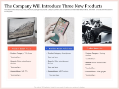 Pitch Deck To Raise Capital From Product Pooled Funding The Company Will Introduce Three New Products Sample PDF
