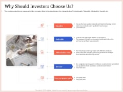 Pitch Deck To Raise Capital From Product Pooled Funding Why Should Investors Choose Us Graphics PDF