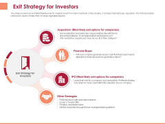 Pitch Deck To Raise Funding From Equity Crowdfunding Exit Strategy For Investors Ppt Show Graphic Tips PDF