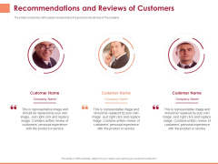 Pitch Deck To Raise Funding From Equity Crowdfunding Recommendations And Reviews Of Customers Ppt Examples PDF