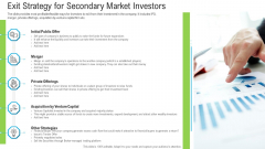 Pitch Deck To Raise Funding From Secondary Market Exit Strategy For Secondary Market Investors Topics PDF
