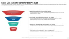 Pitch Deck To Raise New Venture Financing From Seed Investors Sales Generation Funnel For The Product Portrait PDF