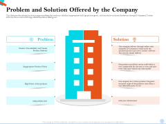 Pitch Presentation Raising Series C Funds Investment Company Problem And Solution Offered By The Company Brochure PDF