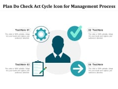 Plan Do Check Act Cycle Icon For Management Process Ppt PowerPoint Presentation Inspiration Templates PDF