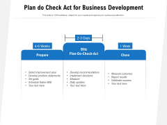 Plan Do Check Act For Business Development Ppt PowerPoint Presentation Icon Show PDF