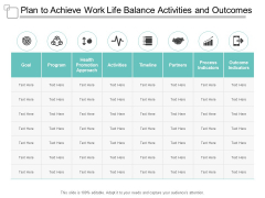 Plan To Achieve Work Life Balance Activities And Outcomes Ppt PowerPoint Presentation Inspiration Information