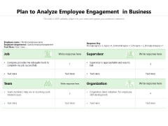 Plan To Analyze Employee Engagement In Business Ppt PowerPoint Presentation Icon Infographic Template PDF