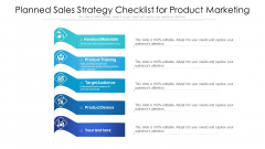 Planned Sales Strategy Checklist For Product Marketing Ppt PowerPoint Presentation Gallery Brochure PDF