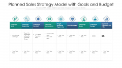 Planned Sales Strategy Model With Goals And Budget Ppt PowerPoint Presentation Gallery Portfolio PDF