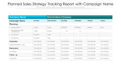 Planned Sales Strategy Tracking Report With Campaign Name Ppt PowerPoint Presentation File Templates PDF