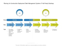 Planning For Construction Deployment Client Management Systems IT Half Yearly Roadmap Formats