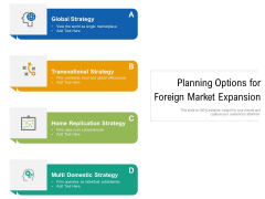 Planning Options For Foreign Market Expansion Ppt PowerPoint Presentation Gallery Guidelines PDF