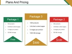 Plans And Pricing Ppt PowerPoint Presentation Infographics Guide