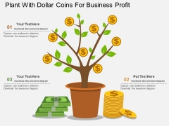 Plant With Dollar Coins For Business Profit Powerpoint Template