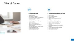 Platform Engineering PowerPoint Template Slides Table Of Content Summary PDF