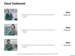 Plumbing Sanitary Works Client Testimonial Ppt Infographic Template Graphic Images PDF