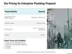 Plumbing Sanitary Works Our Pricing For Enterprise Plumbing Proposal Summary PDF