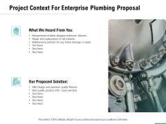 Plumbing Sanitary Works Project Context For Enterprise Plumbing Proposal Graphics PDF