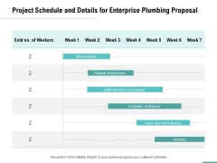 Plumbing Sanitary Works Project Schedule And Details For Enterprise Plumbing Proposal Background PDF