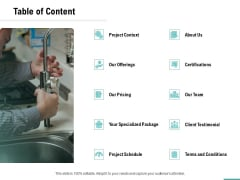 Plumbing Sanitary Works Table Of Content Ppt Styles Rules PDF