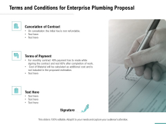 Plumbing Sanitary Works Terms And Conditions For Enterprise Plumbing Proposal Icons PDF